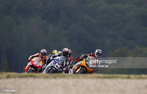 Colin Edwards of USA and NGM Mobile Forward Racing leads the field during the MotoGP race during the MotoGp of Czech Republic Race at Brno Circuit on...