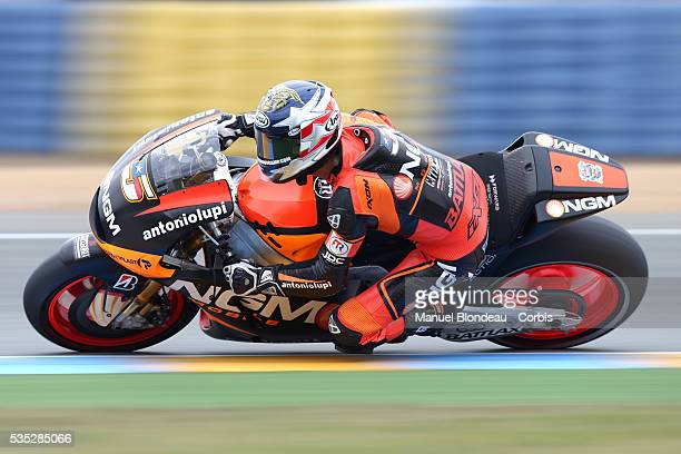 Colin Edwards of USA and NGM Mobile Forward Racing rides during the MotoGP free practice session of the Monster Energy Grand Prix de France which is...