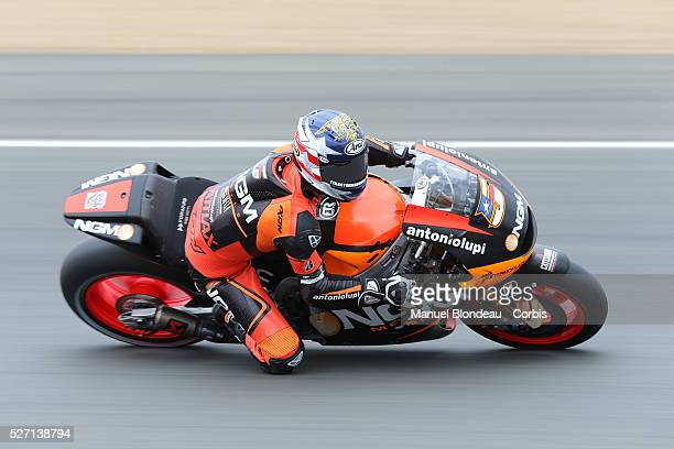 Colin Edwards of USA and NGM Mobile Forward Racing rounds the bend during the MotoGP qualifying practice session of the Monster Energy Grand Prix de...