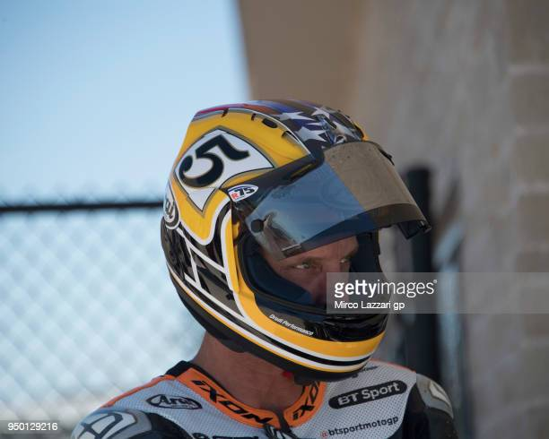 Colin Edwards of USA prepares to ride the Ebike before the MotoGP race during the MotoGp Red Bull US Grand Prix of The Americas Race at Circuit of...