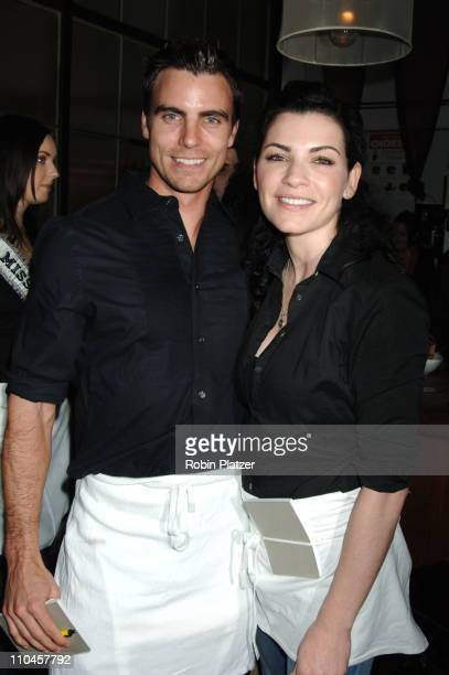 Colin Egglesfield and Julianna Margulies during Celebrities Wait Tables To Benefit Project ALS at Sapa in New York City New York United States