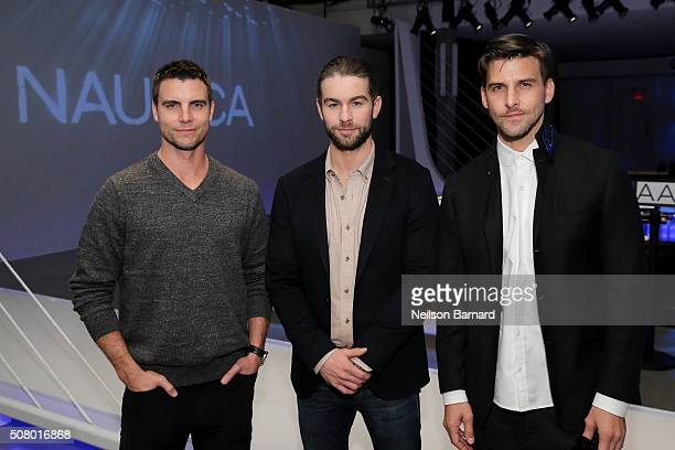 Colin Egglesfield Chace Crawford and Johannes Huebl attend the Nautica Men's Fall 2016 fashion show during New York Fashion Week Men's Fall/Winter...