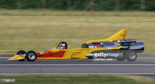 Colin Fallows of Northampton drives his afterburning jet car 'Vampire' in an attempt to break the British Landspeed Record of 300.3mph on the runway...