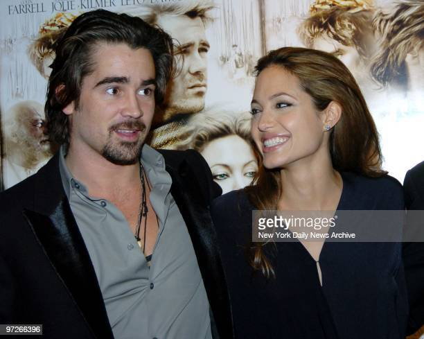Colin Farrell and Angelina Jolie get together at a Film Society of Lincoln Center salute to director Oliver Stone that included a screening of...