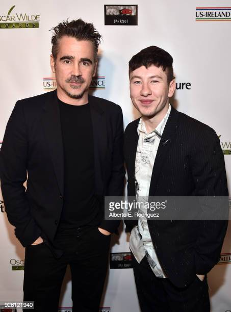 Colin Farrell and Barry Keoghan attend the Oscar Wilde Awards 2018 at Bad Robot on March 1 2018 in Santa Monica California