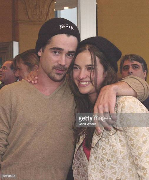"""Colin Farrell and his date arrive at the world premiere of Paramount Pictures'' """"Lara Croft: Tomb Raider"""" June 11 at the Mann Village Theatre in the..."""