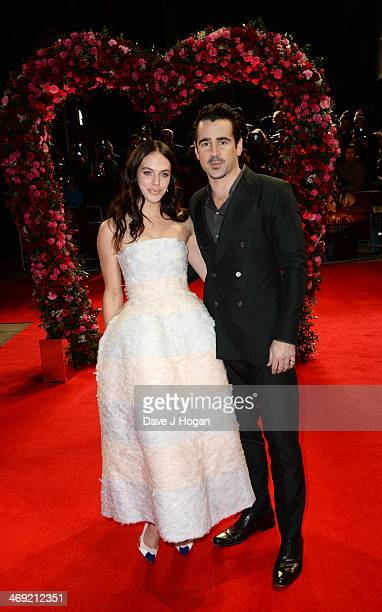Colin Farrell and Jessica Brown Findlay attend the UK premiere of 'A New York Winter's Tale' at The Odeon Kensington on February 13 2014 in London...