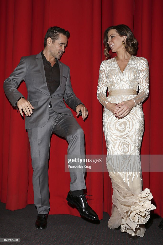 Colin Farrell and Kate Beckinsale attend the German premiere of 'Total Recall' at Sony Center on August 13, 2012 in Berlin, Germany.
