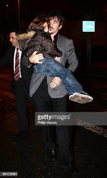 Colin Farrell arrives with his son James at Krystle Nightclub where his brother Eamon Farrell celebrated his recent marriage to Steven Mannion on...