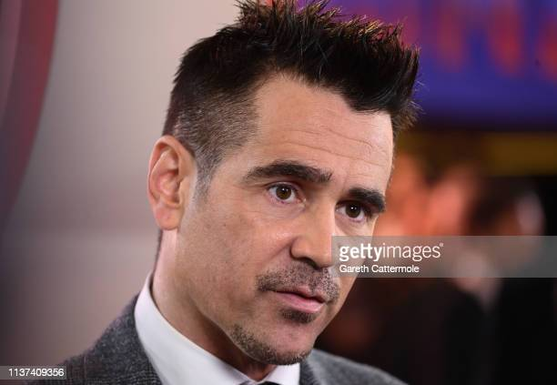 "Colin Farrell attends the European Premiere of Disney's ""Dumbo"" at The Curzon Mayfair on March 21, 2019 in London, England."