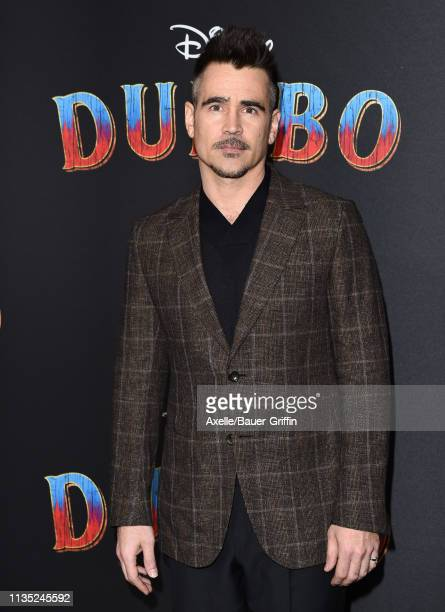 "Colin Farrell attends the premiere of Disney's ""Dumbo"" at El Capitan Theatre on March 11, 2019 in Los Angeles, California."