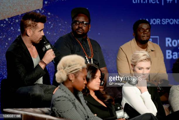 Colin Farrell Cynthia Erivo Brian Tyree Henry Michelle Rodriguez Elizabeth Debicki and Daniel Kaluuya attend the 'Widows' press conference during...