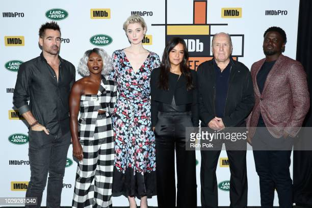 Colin Farrell Cynthia Erivo Elizabeth Debicki Michelle Rodriguez Robert Duvall and Daniel Kaluuya of 'Widows attend The IMDb Studio presented By Land...