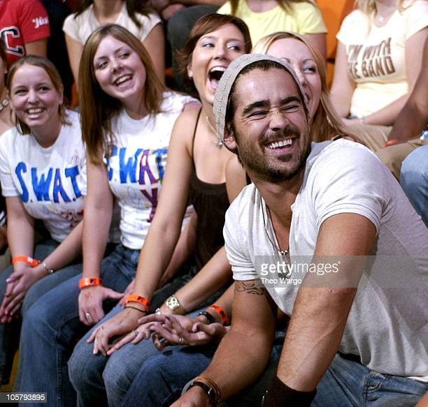 Colin Farrell during Cast Members of SWAT Stop by MTV's TRL August 7 2003 at MTV Studios Times Square in New York City New York United States
