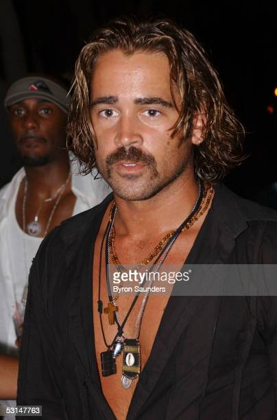 Colin Farrell gives interviews to the media outside the Delano Hotel where he and Jamie Foxx were having a party to kick off filming of 'Miami Vice'...
