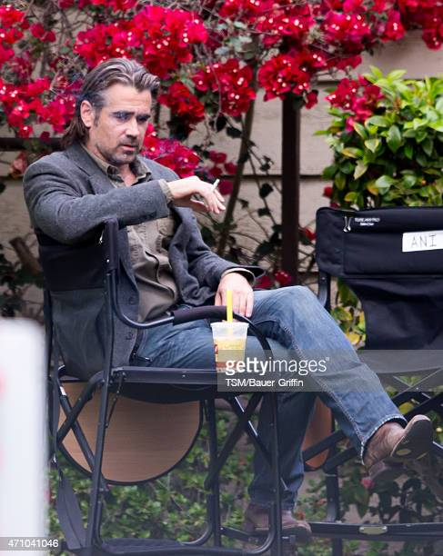Colin Farrell is seen on the set of 'True Detective' on April 24 2015 in Los Angeles California