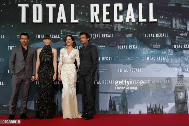 Colin Farrell Jessica Biel Kate Beckinsale and Len Wiseman attend the German premiere of 'Total Recall' at Sony Center on August 13 2012 in Berlin...