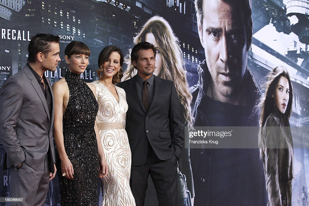 Colin Farrell, Jessica Biel, Kate Beckinsale and Len Wiseman attend the German premiere of 'Total Recall' at Sony Center on August 13, 2012 in Berlin, Germany.
