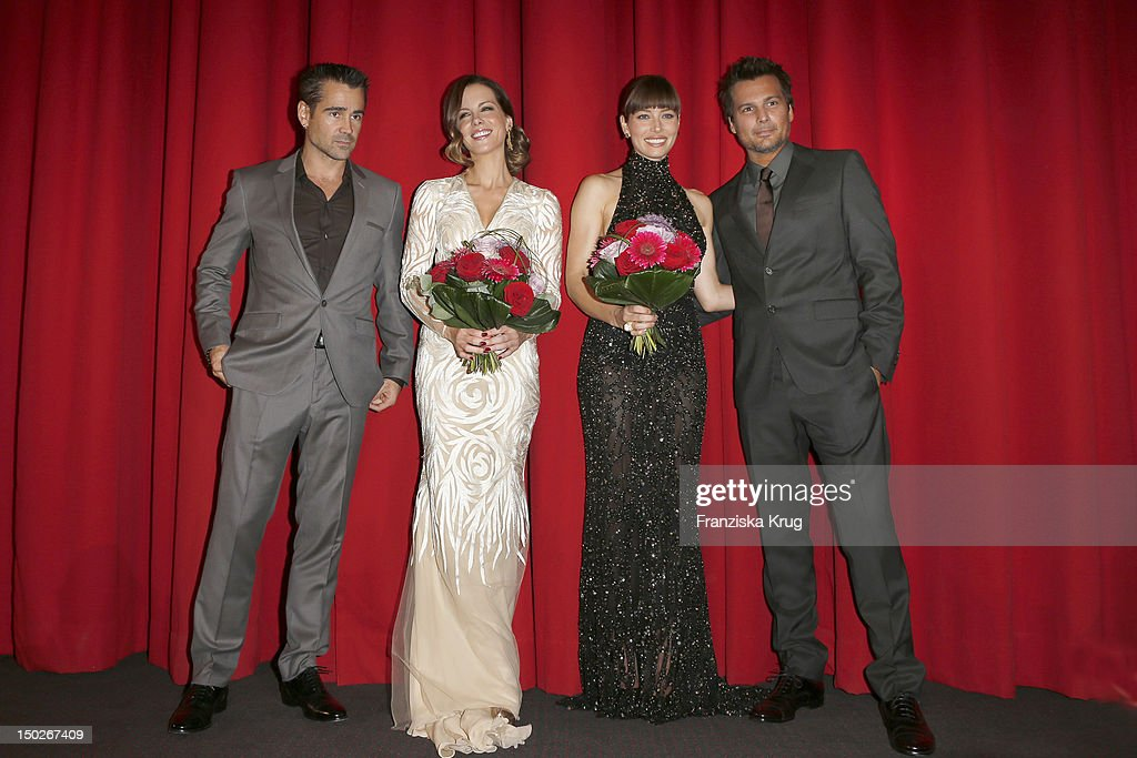 Colin Farrell, Kate Beckinsale, Jessica Biel and Len Wiseman attend the German premiere of 'Total Recall' at Sony Center on August 13, 2012 in Berlin, Germany.