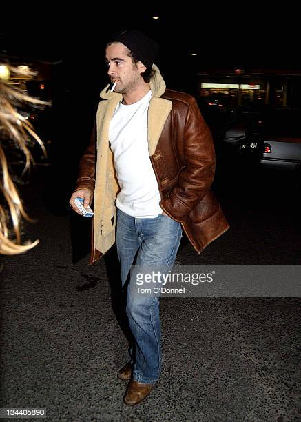 Colin Farrell leaving the Purty Kitchen Bar during Colin Farrell Sighting in Dublin December 19 2004 in Dublin Ireland