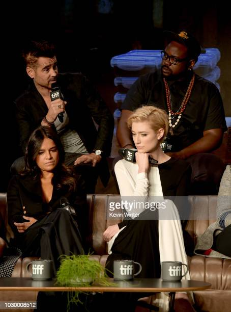 Colin Farrell Michelle Rodriguez Elizabeth Debicki and Brian Tyree Henry attend the 'Widows' press conference during 2018 Toronto International Film...
