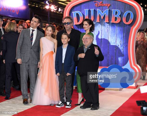 Colin Farrell Nico Parker Finley Hobbins Tim Burton Eva Green and Danny DeVito attend the European premiere of 'Dumbo' at The Curzon Mayfair on March...