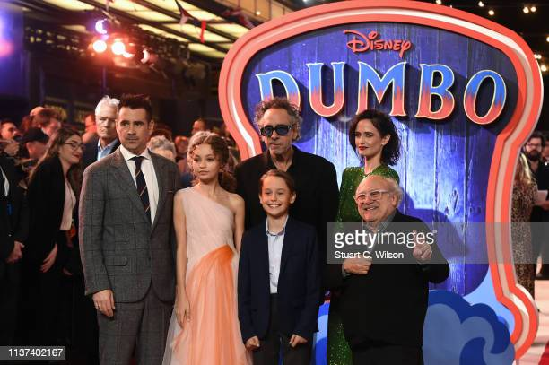 Colin Farrell Nico Parker Finley Hobbins Tim Burton Eva Green Danny DeVito attend the 'Dumbo' European premiere at The Curzon Mayfair on March 21...