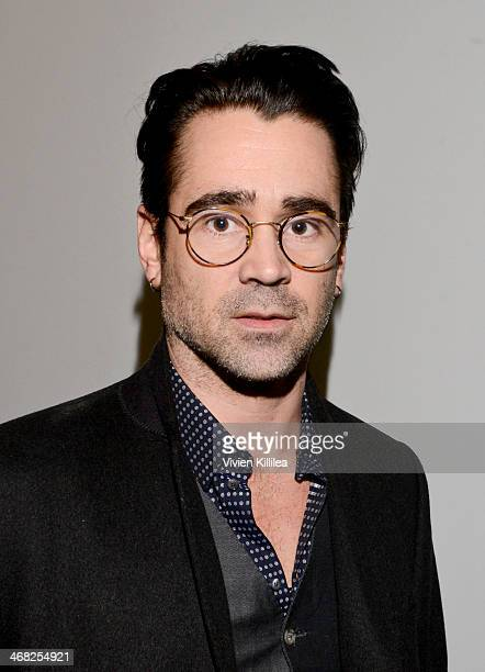 Colin Farrell poses backstage at the Edun show during MercedesBenz Fashion Week Fall 2014 at Skylight Modern on February 9 2014 in New York City