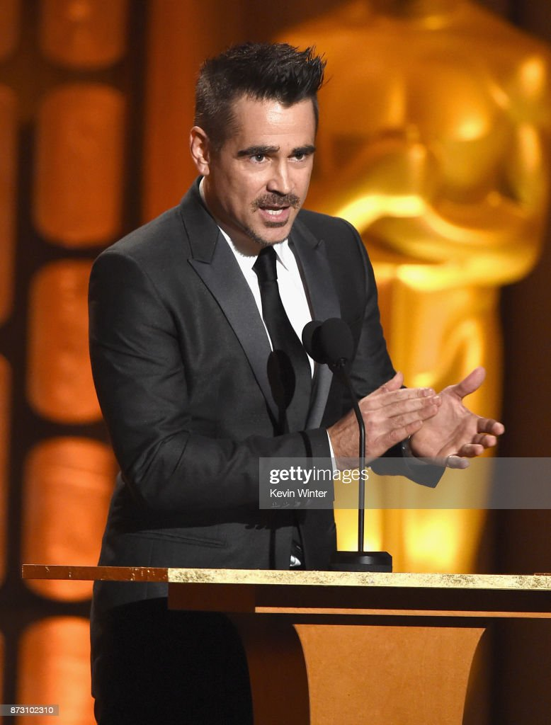 Colin Farrell speaks onstage at the Academy of Motion Picture Arts and Sciences' 9th Annual Governors Awards at The Ray Dolby Ballroom at Hollywood & Highland Center on November 11, 2017 in Hollywood, California.