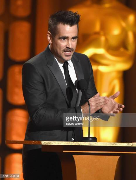 Colin Farrell speaks onstage at the Academy of Motion Picture Arts and Sciences' 9th Annual Governors Awards at The Ray Dolby Ballroom at Hollywood...
