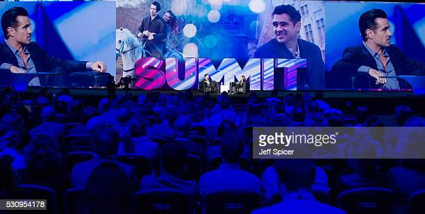 Colin Farrell speaks with Ann Lewnes Chief Marketing Officer for Adobe at Adobe EMEA Summit at ExCel on May 12 2016 in London England