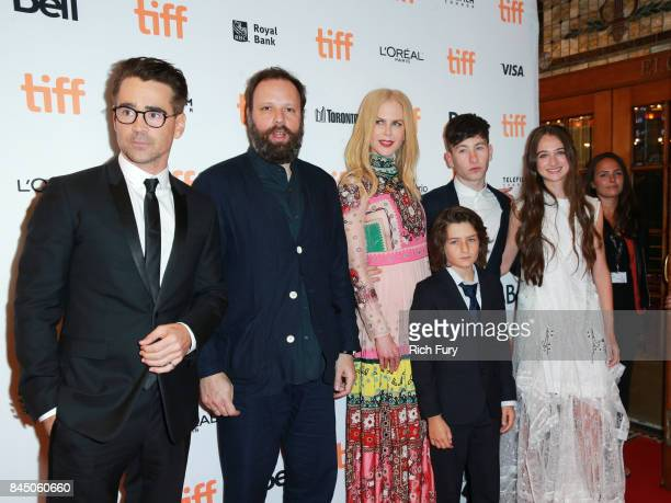 Colin Farrell Yorgos Lanthimos Nicole Kidman Sunny Suljic Barry Keoghan and Raffey Cassidy attend The Killing of a Sacred Deer premiere during the...