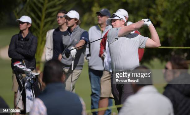 Colin Featherstone of theUnited States hits a tee shot on the 14th hole during the final round of the PGA TOUR Latinoamerica 59º Abierto Mexicano de...