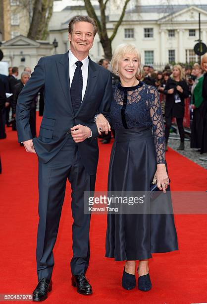 """Colin Firth and Helen Mirren arrive for the UK premiere of """"Eye In The Sky"""" at Curzon Mayfair on April 11, 2016 in London, United Kingdom."""