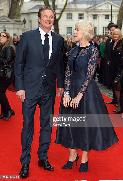 Colin Firth and Helen Mirren arrive for the UK premiere of 'Eye In The Sky' at Curzon Mayfair on April 11 2016 in London United Kingdom