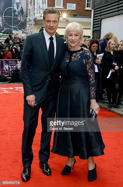 Colin Firth and Helen Mirren attend the UK premiere of Eye In The Sky at The Curzon Mayfair on April 11, 2016 in London, England.