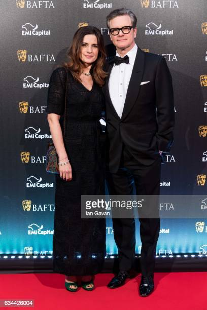 Colin Firth and his wife Livia Giuggioli attend the BAFTA 2017 film gala dinner on February 9 2017 in London United Kingdom