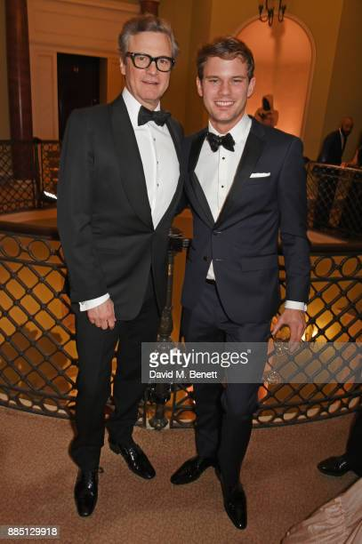 Colin Firth and Jeremy Irvine attend a drinks reception ahead of the London Evening Standard Theatre Awards 2017 at the Theatre Royal Drury Lane on...