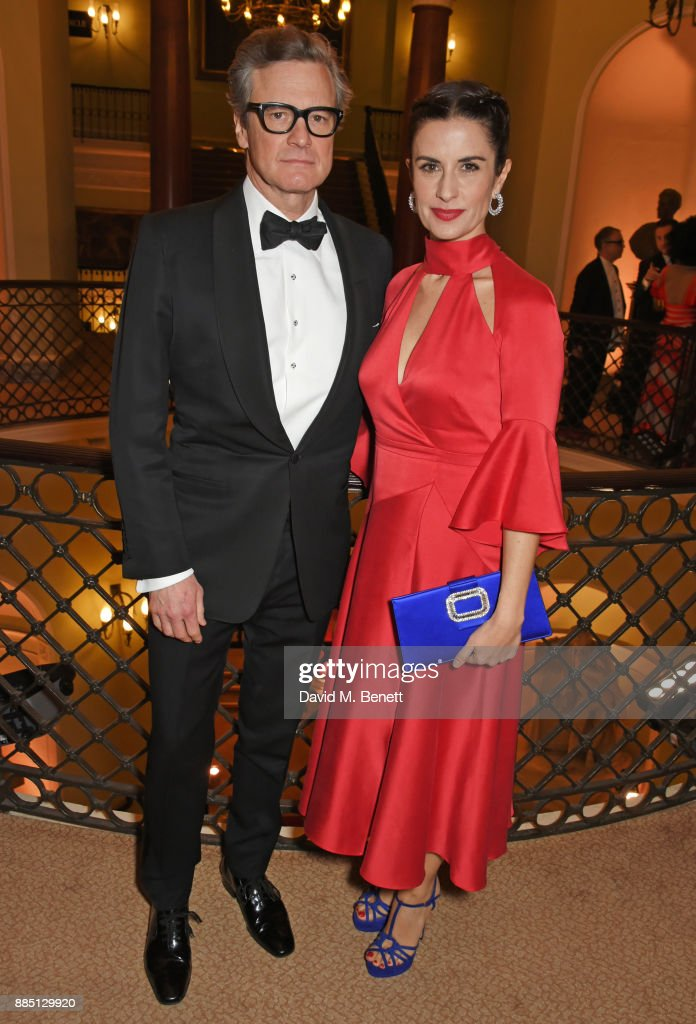 Colin Firth (L) and Livia Firth attend a drinks reception ahead of the London Evening Standard Theatre Awards 2017 at the Theatre Royal, Drury Lane, on December 3, 2017 in London, England.