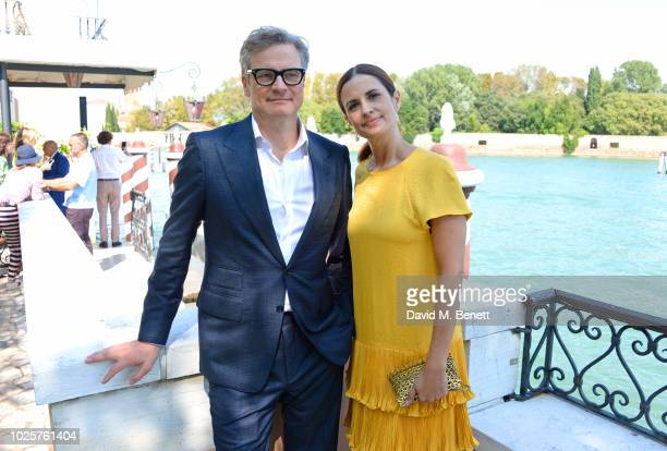 Colin Firth and Livia Firth attend a luncheon with Chopard to launch the Green Carpet Fashion Awards 2018 on September 1 2018 in Venice Italy
