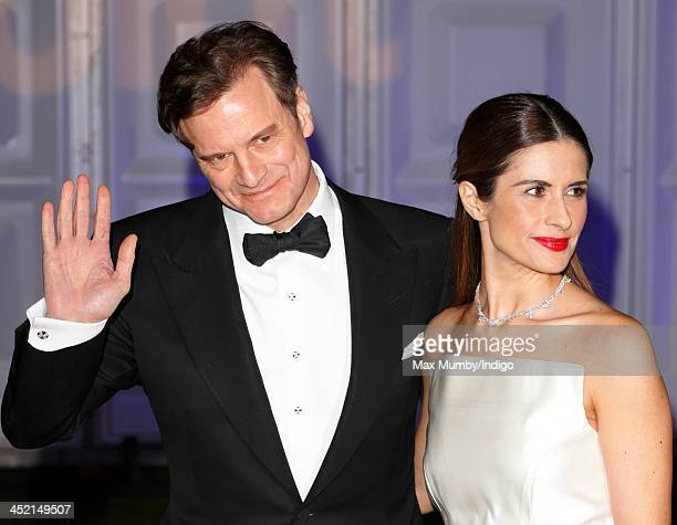 Colin Firth and Livia Firth attend the Centrepoint Winter Whites Gala at Kensington Palace on November 26 2013 in London England