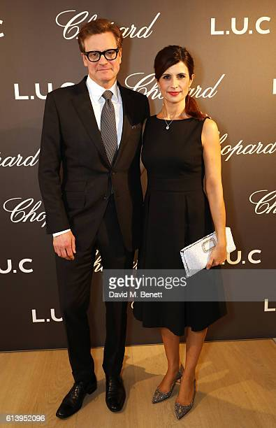 Colin Firth and Livia Firth attend the cocktail opening of the Chopard exhibition 'LUC L'art d'une Manufacture' at Phillips Gallery on October 11...