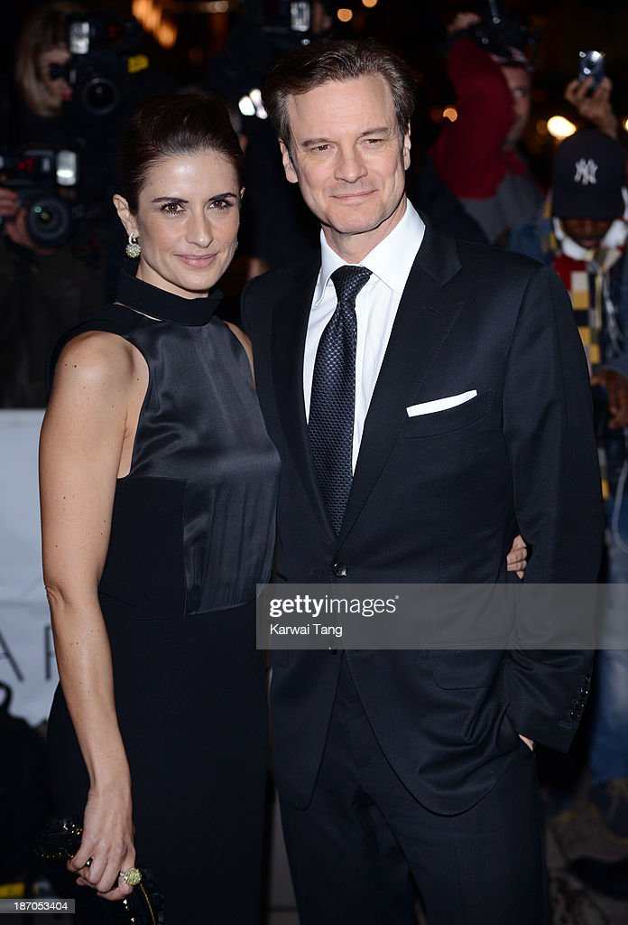 Colin Firth and Livia Firth attend the Harpers Bazaar Women of the Year Awards at Claridge's Hotel on November 5, 2013 in London, England.