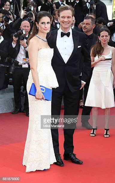 Colin Firth and Livia Firth attend the 'Loving' premiere during the 69th annual Cannes Film Festival at the Palais des Festivals on May 16 2016 in...