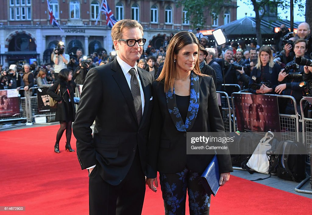 Colin Firth and Livia Firth attend the 'Nocturnal Animals' Headline Gala screening during the 60th BFI London Film Festival at Odeon Leicester Square on October 14, 2016 in London, England.