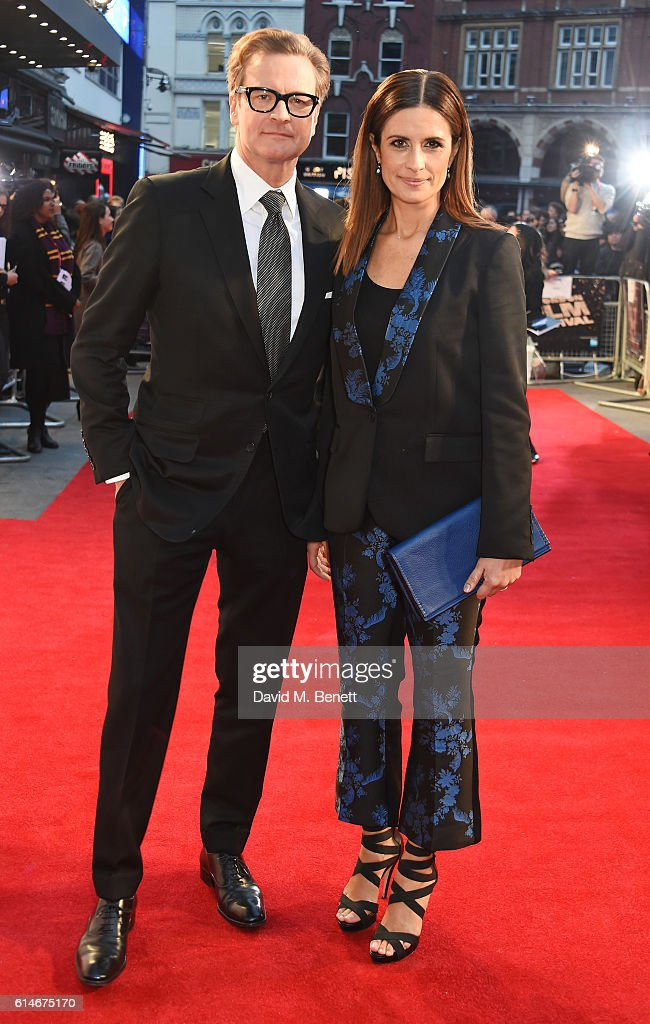 Colin Firth (L) and Livia Firth attend the 'Nocturnal Animals' Headline Gala screening during the 60th BFI London Film Festival at Odeon Leicester Square on October 14, 2016 in London, England.