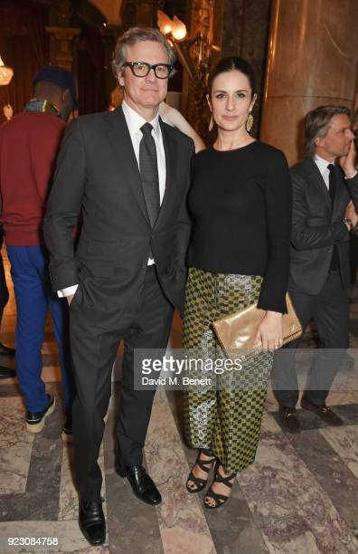 Colin Firth and Livia Firth Founder and Creative Director of EcoAge attend the VIP preview of the Commonwealth Fashion Exchange exhibition at the...