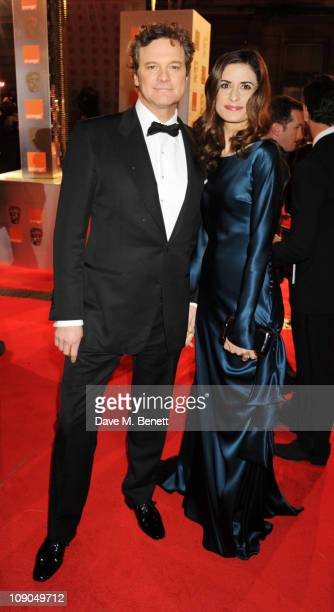Colin Firth and Livia Giuggioli arrive at the Orange British Academy Film Awards 2011 at The Royal Opera House on February 13 2011 in London England
