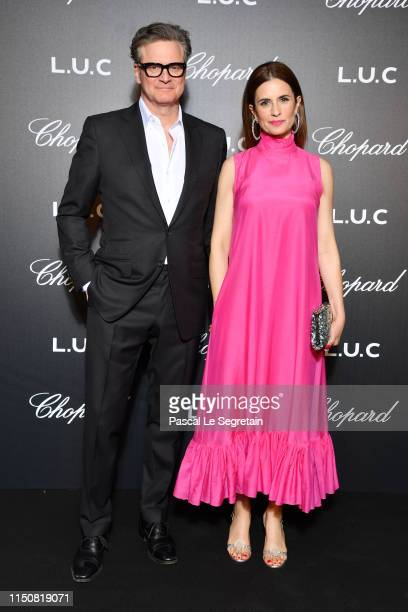 Colin Firth and Livia Giuggioli attend Chopard's The Gentleman's Evening At The Hotel Martinez at Hotel Martinez on May 21 2019 in Cannes France