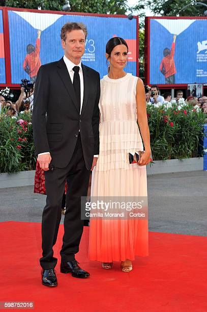 """Colin Firth and Livia Giuggioli attend """"Nocturnal Animals' Premiere during the 73rd Venice Film Festival at on September 2, 2016 in Venice, Italy."""